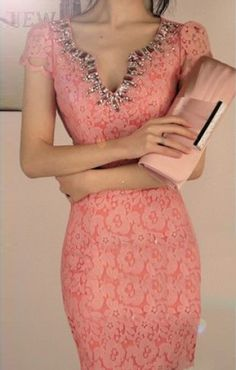 So Pretty! Love Pink! Pink Lace Splicing V-neck Short Sleeves Figure-hugging Club Dress #Pink #Pink_Lace #Sexy #BodyCon #Club_Dress #Fashion