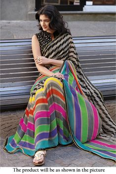 Georgette Printed Saree In Multicolour Colour It is Comes With Matching Blouse.It Is Crafted With Printed with Sequence Jari Border....