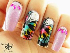 Nails by Cassis: 31DC2014 - Animal Print: Rainbow Butterfly Mani