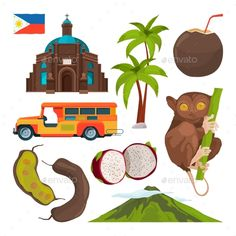 Buy Vector Set of Colored Symbols of Philippines by ONYXprj on GraphicRiver. Vector set of colored symbols of philippines. Illustration of traditional architecture and animal tarsier Filipino Art, Filipino Culture, Best Iphone Wallpapers, Cute Wallpapers, Philippine Mythology, Philippine Art, Pastel Galaxy, Philippines Culture, Vector Art