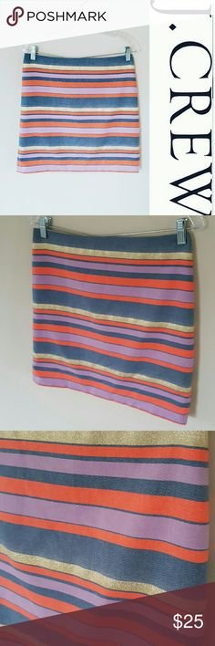 J. Crew striped chambray & sparkles skirt! 4 In excellent condition! Beautiful J. Crew skirt, size 4.  Striped skirt with sparkle and chambray detail! Back zipper. This could also fit a size 6.  Bundle using the bundle feature and save! J. Crew Skirts