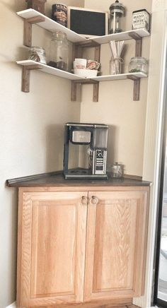 An easy to do and cheap coffee bar. Learn how to create a useable coffee station. Perfect for small homes and a great idea for the hard to use corners. Decor, Mirrored Furniture, Diy Furniture, Refurbished Furniture, Coffee Bar Home, Corner Bar, Home Decor, Bars For Home, Diy Coffee Bar