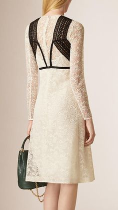 Floral Lace and Mesh A-Line Dress | Burberry