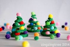 Pipe cleaner & Pompom Christmas Trees