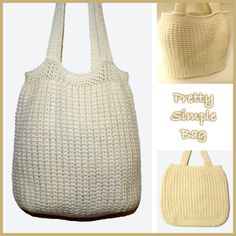 Crochet Purses Patterns Pretty Simple Bag ~ FREE Crochet Pattern - FREE Crochet pattern for a Pretty Simple Bag. Crochet Market Bag, Crochet Tote, Crochet Handbags, Crochet Purses, Free Crochet, Simple Crochet, Crochet Baskets, Crochet Summer, Crochet Purse Patterns