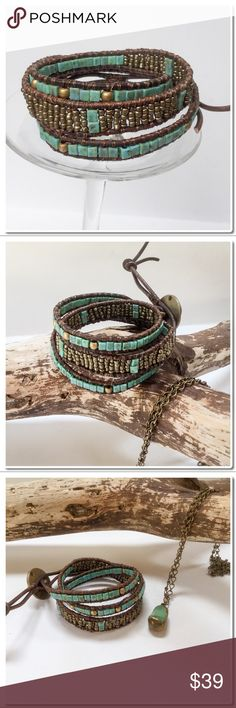 """Handmade 3X Wrap Bracelet Handmade Wrap Bracelet- Wraps around Wrist 3 times- Opaque Turquoise blue Picasso beads, 11/0 Glass seed beads and antique brass beads are woven onto 2mm Brown Leather cord with Button closure. Finished length is 20 1/2"""" to first loop and 22 to second loop Width varies from 1/4"""" to 1/2"""" inch. Prices on Handmade Items is Firm. Handmade Jewelry Bracelets"""