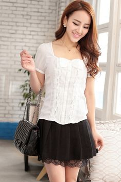 High Waist Lace Lined Pleated Skirt