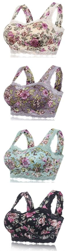 $14.66 Sexy Floral Printing Lace Hem Bras Breathable Wireless Vest Bra