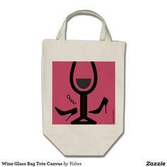 Wine Glass Bag Tote Canvas