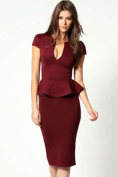 Emily Slit Neck Cap Sleeve Peplum Midi Dress