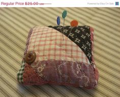 ON SALE Antique Sachet Pin Cushion  1800's by backgatecottage