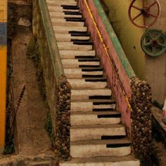 rustic piano painting on stairs