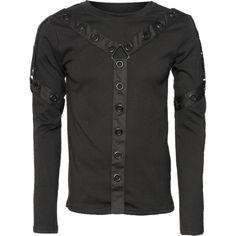 A gothic men's long-sleeve top with strap and eyelet detail on chest and sleeves, from the Queen of Darkness brand of clothing.