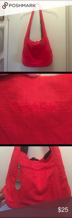 """Kenneth Cole Handbag Great condition, one own mark on bottom/side panel, but barely noticeable. 11.5""""H x 15""""W x 5""""D. It has an 18.5"""" strap drop, long enough for a Crossbody on a smaller person. Outer shell is like red burlap canvas material. Some bumps and pills; most are just part of the fabric. It's been recently washed and very clean interior, too. Some very light fading at the top of the strap, not noticeable. Large interior and exterior zip pockets. Gorgeous, roomy bag! Kenneth Cole…"""