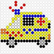 Deze kralenplank en vele andere in het thema verkeer kun je vinden op de website van Juf Milou. Grande Section, Diy Perler Beads, Letter D, Fuse Beads, Disney Crafts, Bead Crafts, Beading Patterns, Pixel Art, Kindergarten