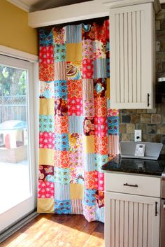 Patchwork Curtain - super cute! This would be a great sink skirt.