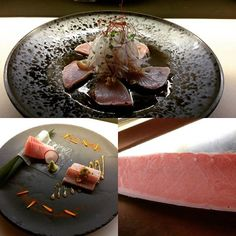 Tonight sashimi night is Toro 2 way and Bonito tataki. Toro serves sashimi and aburi w yuzu miso. Bonito serves home made garlic soy and a lot of garnish. Both of dish are tasty. #japanesefood #realfood #melbourne #akachochinmelb #foodie #toro #aburi #seafood #foodporn #bonito #yuzu by kengohiromatsu