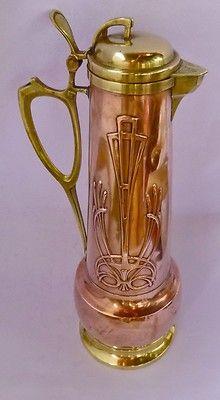 Art Nouveau Copper & Brass Jug, Pitcher