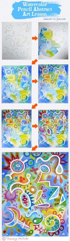 A fun step-by-step art lesson demonstrating how to create colorful abstract art using watercolors, watercolor pencils, and masking fluid! http://www.art-is-fun.com/watercolor-pencil-art-lesson.html  (been awhile since I used masking fluid, I think I'm out, for elementary could use white crayon except those areas would stay white)