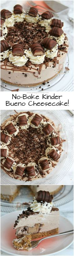 No-Bake Kinder Bueno Cheesecake!! A Buttery Biscuit Base, Kinder Chocolate & Kinder Bueno Filling, Whipped Cream, Melted Chocolate, and even more Kinder Bueno! The PERFECT No-Bake Kinder Bueno Cheesecake!