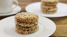 Tahini (sesame seed paste) Cookies - These tahini cookies are so rich and buttery that they will melt in your mouth. And it is really easy to prepare this recipe. Peanut Butter Cookies, No Bake Cookies, Chocolate Chip Cookies, Tahini Cookies Recipe, Israeli Food, Israeli Recipes, Biscuits, Beautiful Cakes, Kitchens