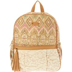 fe7b764a26a7 Brown Aztec and Lace Print Backpack ( 35) ❤ liked on Polyvore featuring bags
