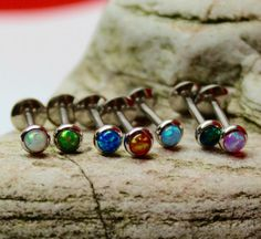 4mm Fire Opal Labret Stud - 1.2mm Gauge - suitable for lip, tragus, helix etc - UK Seller