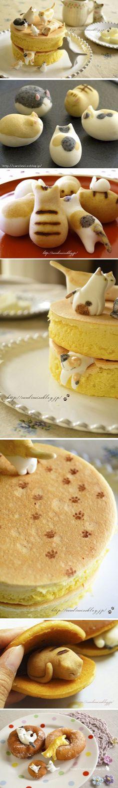hotcakes loaded with cat-shaped nerikiri, a traditional Japanese sweet | Artisan: Caroline I., Japan |