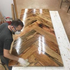 How sick is this herringbone style table top from @saltwooddesigns . Too cool not to share! #build