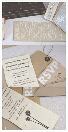 simple white and tan invites