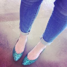 Our Catherine Flats in emerald python looking fabulous at our trunk show in San Antonio!