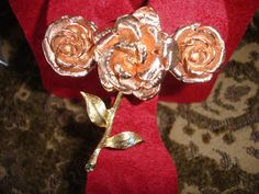 Jackie Kennedy Rose Brooch & Earring Set From JBK Collection Gold Plated