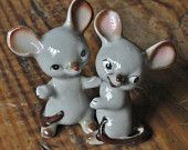 Vintage Salt and Pepper Shakers, Gray Mice, Kitchen Houseware Collectibles