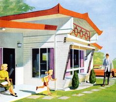 Home Sweet Mobile Home - detail from July 1960 Popular Mechanics Magazine cover.