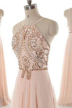 Pretty long prom dress, popular prom dress, blush pink prom dress, junior prom dress, evening dress
