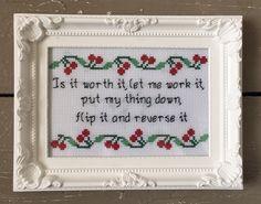 Is it worth it, let me work it - Missy Elliott - funny rap lyrics cross stitch print framed gift.