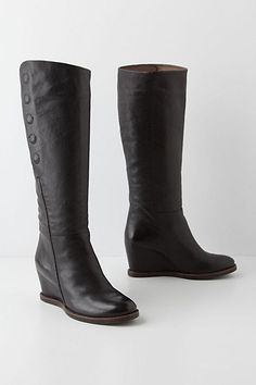 Love the wedge, asymmetrical line & barely there button detail: Admiral High Boots #anthropologie