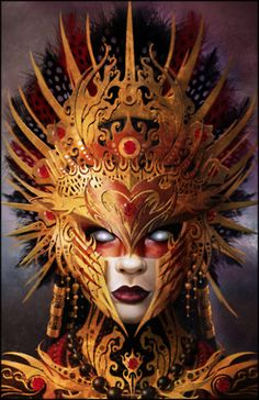 Red tribal mask~ art of fantasy Fantasy Kunst, Fantasy Art, Fantasy Queen, Fantasy Makeup, Costume Venitien, Beautiful Mask, Carnival Masks, Venetian Masks, Venetian Masquerade