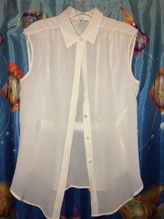 armani collezioni Silk Sleeveless Blouse Size 6 Ivory  #ArmaniCollezioni #ButtonDownShirt