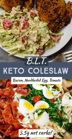 A simple low carb coleslaw recipe inspired by the classic BLT. Crispy bacon, hardboiled eggs, fresh tomatoes and sliced cabbage, in a rich homemade low carb coleslaw dressing.   Just 3.5g net carbs per serving, this coleslaw will be welcome addition to any picnic, potluck, or BBQ.   Or serve this summer salad, alongside grilled chicken, steak, ribs, burgers or pulled pork and a keto friendly side dish. Grilled Chicken Side Dishes, Bbq Chicken Sides, Burger Side Dishes, Cookout Side Dishes, Chicken Steak, Cookout Food, Low Carb Side Dishes, Healthy Side Dishes, Side Dish Recipes