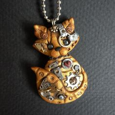 Steampunk Yellow Tabby Cat Polymer Clay Jewelry by Freeheart1