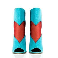 Konstantina Tzovolou deeva mesh heart turquoise coral bootie ($835) ❤ liked on Polyvore featuring shoes, boots, ankle booties, sexy ankle boots, open toe ankle boots, open toe boots, cuff ankle boots and zipper boots