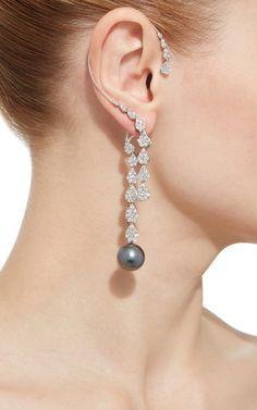 18 K White Gold Cultured Pearl Diamond Ear Cuff by YOKO LONDON for Preorder on Moda Operandi