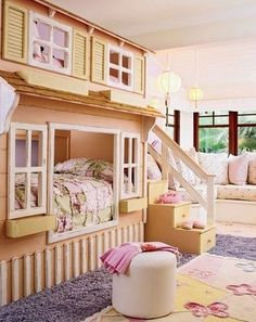 A cottage. | 32 Things That Belong In Your Child's Dream Room ~ cute loft idea for a little girl with the bed on the top and the lower part being a little reading nook or something.