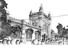 Pen and ink sketch drawn by a rapido. By: Zehra Naqavi (Architect/artist) Year: 1997 Paper Drawing, Paper Art, House Colouring Pages, Medical College, National Art, Realism Art, Ink Pen Drawings, Art Museum, Buy Art