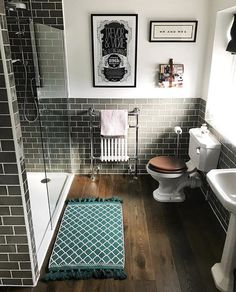 This is such a wonderful bathroom design by the brilliant Vickie Nickolls of Love how the tiles wrap around the whole… 1930s Bathroom, Bathroom Plans, Bathroom Renos, Bathroom Renovations, Charcoal Bathroom, Diy Shower, Simple Bathroom, Master Bathroom, Wet Rooms