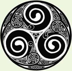 Triskel+o+Trisquel++:+Son+tres+espirales+que+entran+y+salen+en+el+círculo+representando+con+estos+dos+sentidos+de+giro+la+dualidad+de+las+fuerzas+que+están+en+permanente+interacción+en+la+naturaleza+y+por+su+número+(el+tres),+el+equilibrio.+ El+número+de+elementos+que+lo+conforman+es+de+de+nueve+(dos+veces+tres+espirales+y+tres+círculos+interiores)+más+el+circulo+exterior+conforman+el+diez,+el+número+perfecto.+El+círculo+exterior+ti