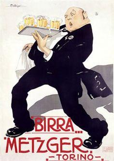 Vintage Italian Posters ~ #illustrator #Italian #posters ~ Birra Metzger