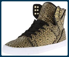 Supra WOMEN-SKYTOP, Damen Hohe Sneakers, Gold (GOLD/BLACK GLB), 38 EU (4.5 Damen...  #black #damen #skytop #sneakers #supra #women Sneakers Mode, Sneakers Fashion, High Top Sneakers, Gold Gold, Black Gold, Chad Muska, Clean Shoes, Partner, Best Deals