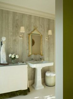 Give your bathroom a natural feel with wood grain wallpaper